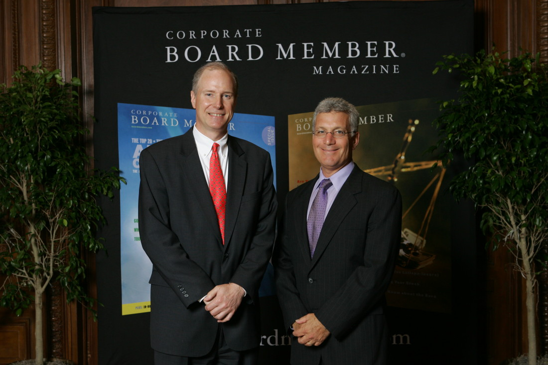 Don Kunz with a representative from Corporate Board Member magazine