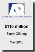 Agree Realty Corporation $110 million Equity Offering May 2016