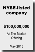 NYSE-listed company - At Market Offering May 2015