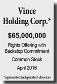 Vince Holding Corp. - Rights Offering with Backstop Commitment